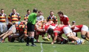 MetNY U23s in red scrum down vs Lansdowne.
