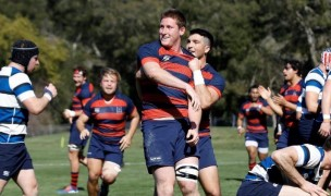 Miles McCormick after scoring for Saint Mary's. Photo: Saint Mary's Rugby.