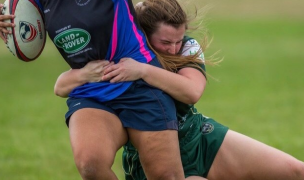 The Woodlands team captain Morgan Williams hits hard. Photo Woodlands Rugby.