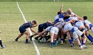 Navy's scrum takes control, and gets the penalty. Jim Bell photo.