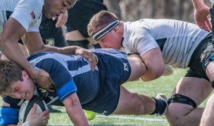 Another big tackle. Army vs Navy in 2018. Colleen McCloskey photo.