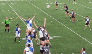 Lineout time for Notre Dame College and St. Bonaventure. Alex Goff photo.
