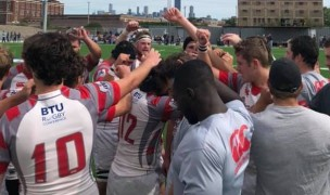 Ohio State huddles up. Does anyone at World Rugby know the influence Ohio State athletics has in college sports?