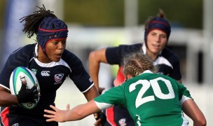 Phaidra Knight takes on a tackler against Ireland. Photo World Rugby