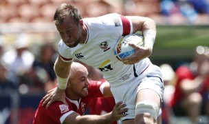 Ben Pinkelman charges ahead against Wales. Mike Lee KLC Fotos for World Rugby.
