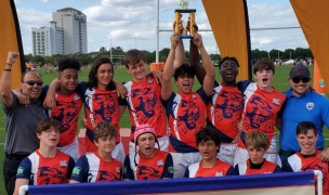 The Panther Rugby Academy U14 Boys celebrate their Tropical 7s win.