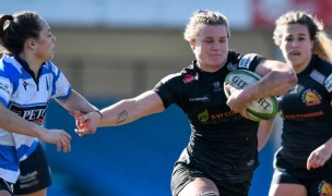 Rachel Johnson on her way to one of her two tries. Photo Exeter Chiefs.