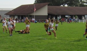 Carmel in stripes against the Carroll Chargers in the Rugby Indiana final. Alex Goff photo.
