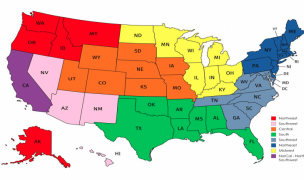 Map of Youth & HS Regions.