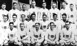 The 1924 USA Olympic rugby team. Ed Graff is in the second row, far left.