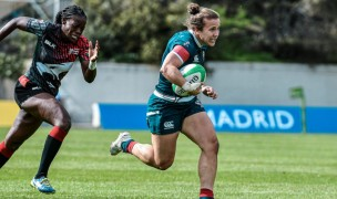 Kristi Kirshe on her way to paydirt against Kenya.