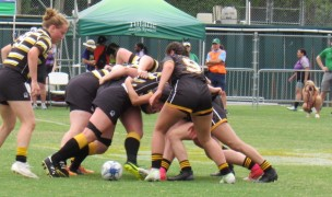 Wayne State and Baldwin Wallace in the scrum. Alex Goff photo.