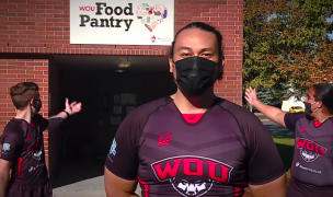 WOU players ask fans to help their food pantry.