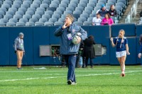 Kelsi Stockert moves to the pregame music as the USA warmups up to play New Zealand in 2018. David Barpal photo.