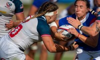 She can also tackle. Cantorna lays in a hit against France in 2019. David Barpal photo.