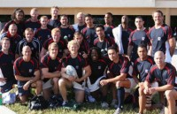 Chris Wyles and the 2007 USA 7s team. Wyles is in the front row, second from the left.