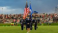 Lt. Col Kat Strus presented both national anthems brilliantly. David Barpal photo.
