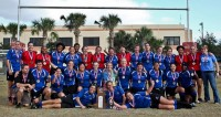 The 2012 National DI champion Atlanta Harlequins. Heather Hale is reclining to the left of the trophy. Photo Atlanta Harlequins.