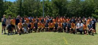 Charlotte Tigers and Florida Jaguares gather post-match.