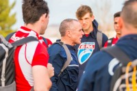 Salty Thompson speaking to his EIRA players in 2017. Allison Bradfield photo.