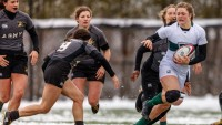 Emily Henrich charges through the Army line for Dartmouth in the fall of 2018. Photo Dartmouth Athletics.