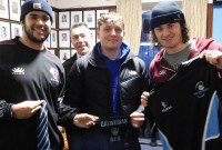 Fordham players get Galwegians gifts. Photo Irish Rugby Tours.