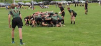 Scrum time. Nate Bateman readies to put the ball in while Chris Cleland covers. Alex Goff photo.