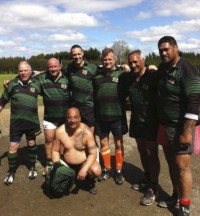 Van Niekerk and Guthrie get reacquainted at an old boys game in New Zealand.