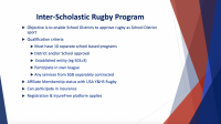 A slide from USA Youth & HS Rugby's presentation on the new scholastic affiliate model.