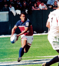 Jone Naqica finds some space for the USA in the USA 7s in 2004. Photo Rugby Magazine.