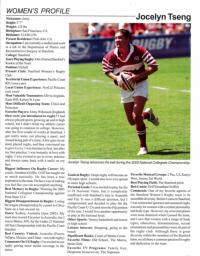 JOcelyn Tseng's Rugby Magazine Q&A profile in 2005.