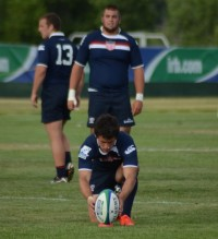 Hughes lines up a kick for the USA U20s in the 2012 Junior World Trophy. P. Crane photo.