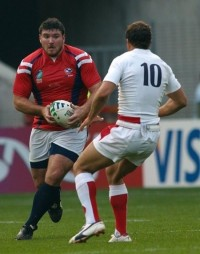 Mike MacDonald in the 2007 Rugby World Cup. Ian Muir photo.