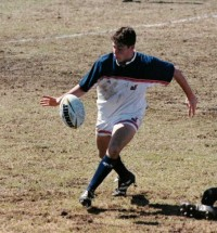 Mike Petri lunches a kick for the USA U19s in 2003. Alex Goff photo.
