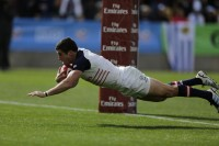 """Petri scoring """"That Try"""" against Uruguay. Photo USA Rugby."""