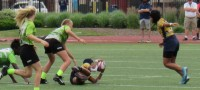 Action in the 2021 National Sevens Youth Rugby Championships girls final. Alex Goff photo.