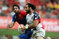 Nate Ebner for the USA in the 2016 Singapore 7s. Photo World Rugby.