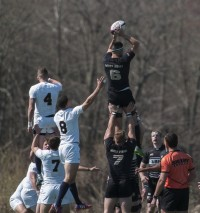 Army wins a lineout in 2016. Colleen McCloskey photo.