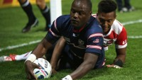 Z Ngwenya could score at other times too. Here's his third all-time RWC try, 2015 against Japan. Photo Rugby World Cup.