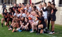 Phoenix and CQ Dingoes pose together after the final. Alex Goff photo.