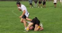 A unique way to make a tackle. Alex Goff photo.