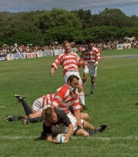 Mark Scharrenberg scores against Japan in 1999. Photo USA Rugby.