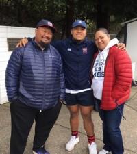 Payton Telea Ilalio with his parents.
