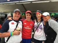 Tom Schmitt and his family at a USA game.