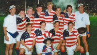 Fitz with the 1999 USA 7s team in Hong Kong.