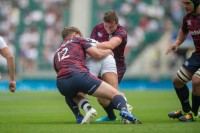 Carty and Calvin Whiting lay in a tackle against England last week. Ian Muir photo.