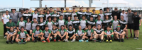 Woodlands and Aztecas players pose together. Richard Clarke photo.